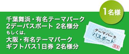 千葉舞浜・有名テーマパーク 2デーパスポート2名様分もしくは大阪・有名テーマパークギフトパス1日券2名様分